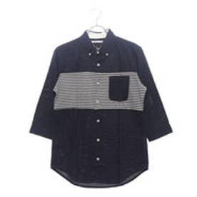 イーブス サプライ YEVS supply パナマパネルボーダー7分袖シャツ (ネイビー)