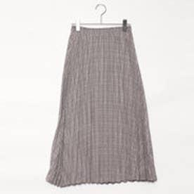 イーブス サプライ YEVS supply グレンチェックロングプリーツスカート (ブラウン)
