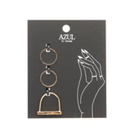 【AZUL by moussy】マーブルストーンストレートSETリング(CARD) 柄BLK