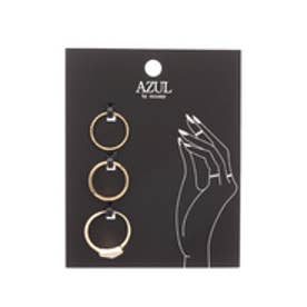 【AZUL by moussy】トライアングルストーンSETリング(CARD) 柄WHT
