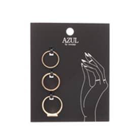 【AZUL by moussy】トライアングルストーンSETリング(CARD) 柄BLK