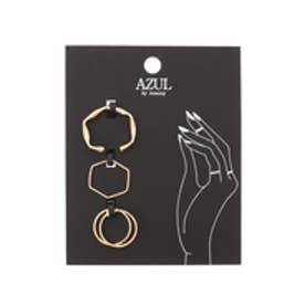 【AZUL by moussy】メタルリング4本SET(CARD) L/GLD
