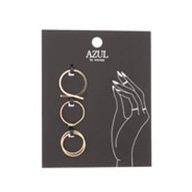 【AZUL by moussy】メタルリング4本SETII(CARD) L/GLD