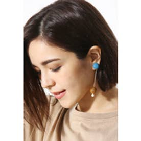 【AZUL by moussy】アクリルボールゴールドバ-ピアス 柄NVY