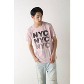 【AZUL by moussy】TC天竺3段NYCクルーネック半袖T L/PNK