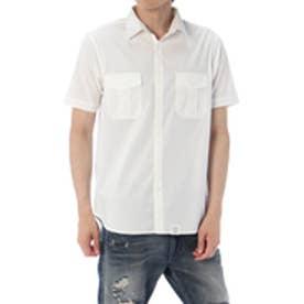 《5/21までWEB限定価格》【AZUL BY MOUSSY】ストレッチブロード半袖ミリタリーシャツ WHT