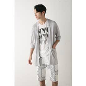 【AZUL by moussy】レーヨン麻Vネック5分袖ロングカーデ L/GRY