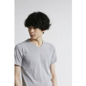 【AZUL by moussy】DRY MIX ニットVネック半袖プルオーバー T.GRY