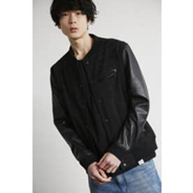 【AZUL by moussy】カモフラエステル袖合皮ブルゾン BLK