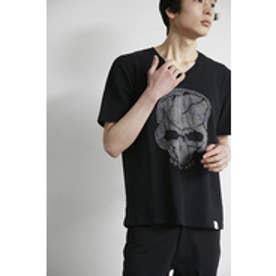 【AZUL BY MOUSSY】カモフラフェイススカルVネック半袖T BLK