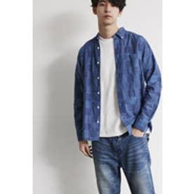《WEB限定サマーセール》【AZUL BY MOUSSY】インディゴかすりチェック長袖シャツ BLU