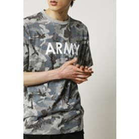 《5/7まで期間限定価格》【AZUL by moussy】カモフラ総柄ARMYプリントVネック半袖T GRY