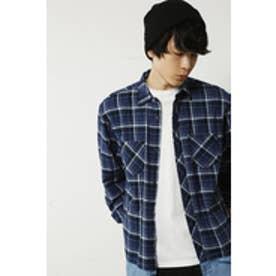 【AZUL by moussy】先染チェック裾デニム切替長袖BIGシャツMOOK番号94225 NVY
