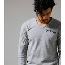 《WEB限定サマーセール》【AZUL BY MOUSSY】タックフライスSUPERIOR刺繍Vネック長袖T T.GRY