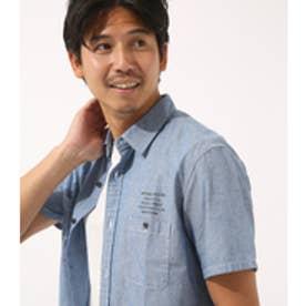 【AZUL BY MOUSSY】ロゴプリントシャンブレー半袖シャツ BLU