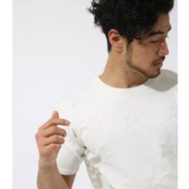 【AZUL BY MOUSSY】ジャガードスタークルーネック半袖プルオーバー WHT