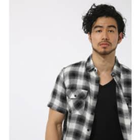 【AZUL BY MOUSSY】オンブレーチェック半袖シャツ 柄BLK