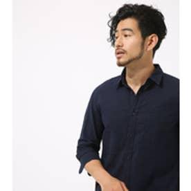 【AZUL BY MOUSSY】リネンコットン七分袖シャツ NVY