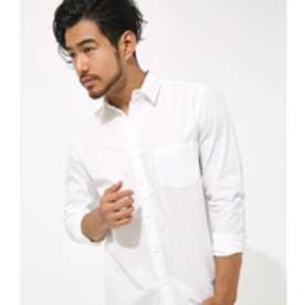 【AZUL BY MOUSSY】コットンダンプ長袖シャツ WHT