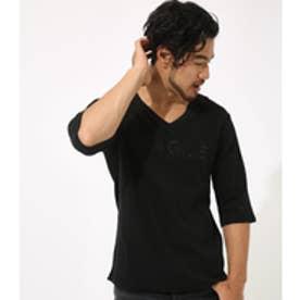 【AZUL BY MOUSSY】FRGILEミニワッフルVネック六分袖Tシャツ BLK
