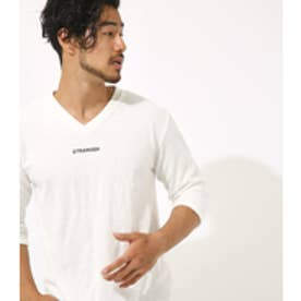 【AZUL BY MOUSSY】パイルワンポイントロゴ刺繍Vネック七分袖T O/WHT