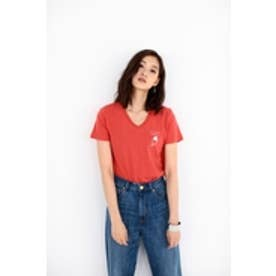 【AZUL by moussy】VネックワンポイントプリントT L/RED