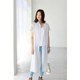 【AZUL BY MOUSSY】スリット入りマキシ半袖シャツ 柄WHT