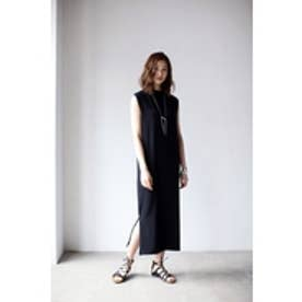 【AZUL by moussy】フレンチスリーブサイドスリットロングワンピース BLK