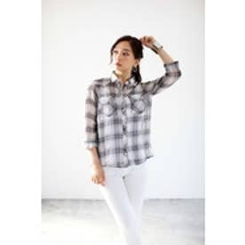 【AZUL BY MOUSSY】ガーゼチェックヨーク切替長袖シャツ 柄WHT