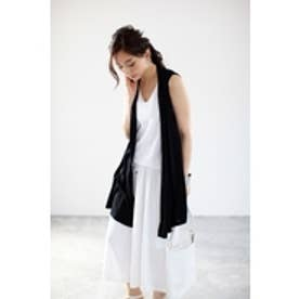 【AZUL by moussy】TR天竺バックスリットカットジレ BLK