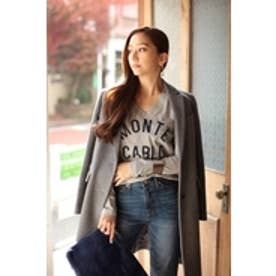 【AZUL by moussy】綿天竺MONTE CARLO VネックロンT T.GRY