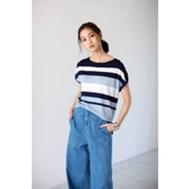 【AZUL by moussy】14Gサイドスリットフレンチスリーブプルオーバー 柄NVY