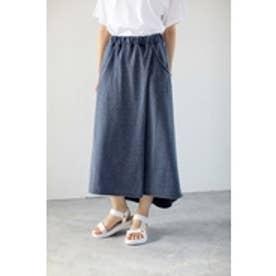 【AZUL BY MOUSSY】ミニ裏毛オパール加工ラップロングスカート NVY