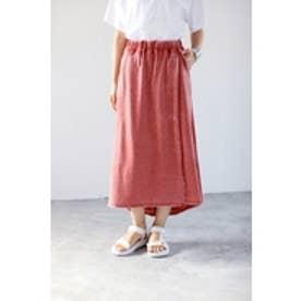 【AZUL BY MOUSSY】ミニ裏毛オパール加工ラップロングスカート D/RED