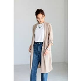【AZUL by moussy】ロングシャツ長袖ターンバックジャケット BEG