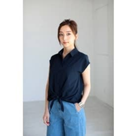 【AZUL by moussy】ジョーゼット前結びフレンチスリーブシャツ NVY