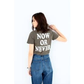 【AZUL by moussy】クルーネックバックプリントT KHA