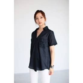 【AZUL by moussy】綿ローン ロールUP5分スキッパーシャツ BLK