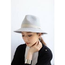 【AZUL by moussy】PE混ブレード同色リボンつば広HAT T.GRY