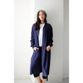 【AZUL by moussy】リブカラーロングコート NVY