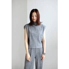【AZUL by moussy】リブニットキャップスリーブプルオーバー 柄GRY
