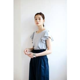 【AZUL by moussy】フレアスリーブ半袖プルオーバー T.GRY