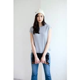 【AZUL by moussy】ワッフルフレンチスリーブプルオーバー T.GRY