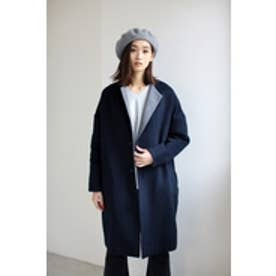 【AZUL by moussy】リバーノーカラーガウンコート NVY