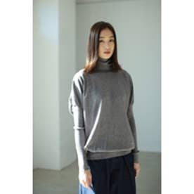 【AZUL by moussy】パフスリーブデザインタートルニット T.GRY