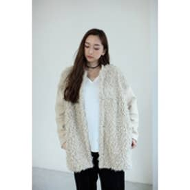【AZUL by moussy】フェイクファー切換ロングブルゾン BEG