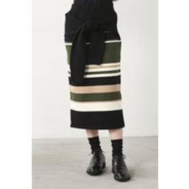 【AZUL by moussy】マルチボーダーフェイクスリーブニットタイトスカート 柄BLK