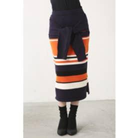 【AZUL BY MOUSSY】マルチボーダーフェイクスリーブニットタイトスカート 柄NVY