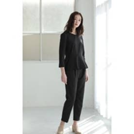 【AZUL by moussy】ペプラム×テーパードセットアップ BLK
