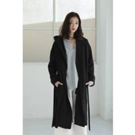 【AZUL by moussy】フードロングコート BLK
